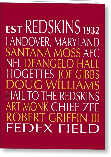 Washington Redskins Greeting Card by Jaime Friedman