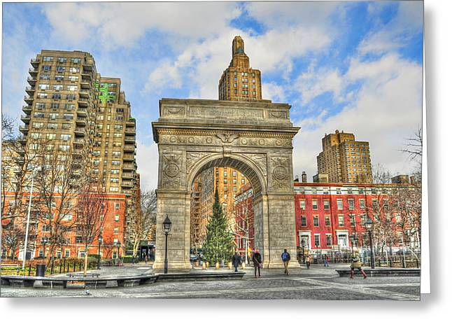 Washington Square In December Greeting Card by Randy Aveille