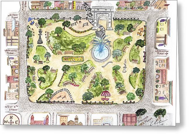 Washington Square Park Map Greeting Card