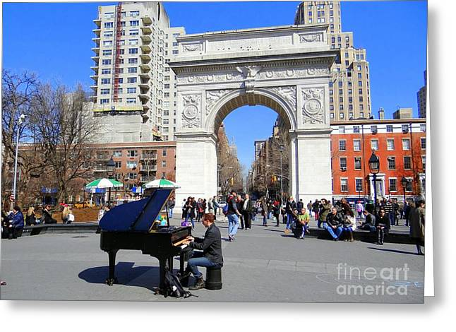 Washington Square Pianist Greeting Card by Ed Weidman