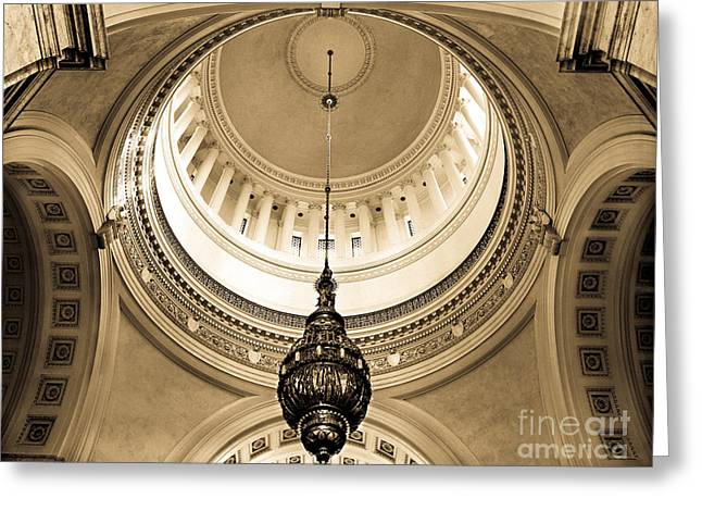 Washington State Capitol Building Rotunda Sepia Greeting Card