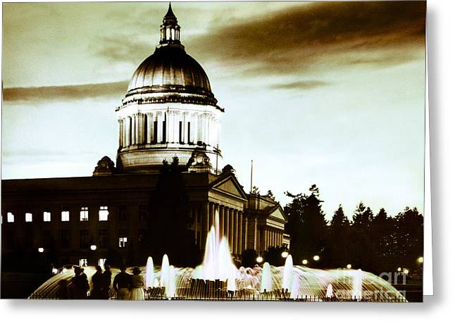 Washington State Capitol Campus And Tivoli Fountain Greeting Card