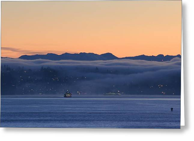 Washington State Ferries At Dawn Greeting Card