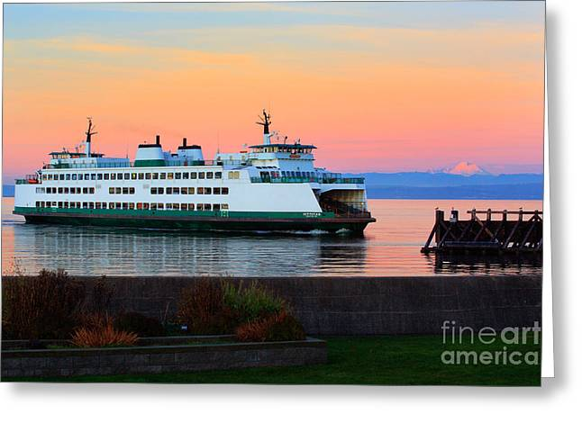 Washington State Ferry Greeting Card by Inge Johnsson