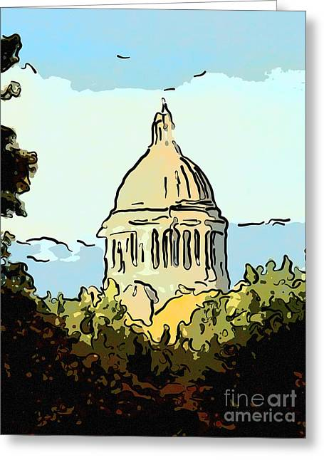 Washington State Legislative Building Abstract Greeting Card