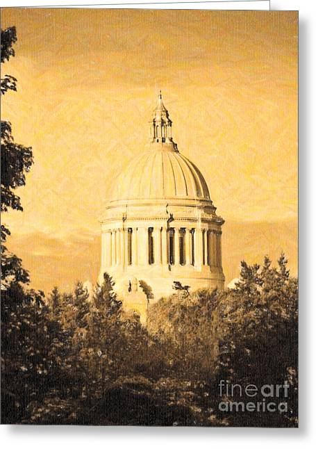 Washington State Legislative Building In Gold Greeting Card