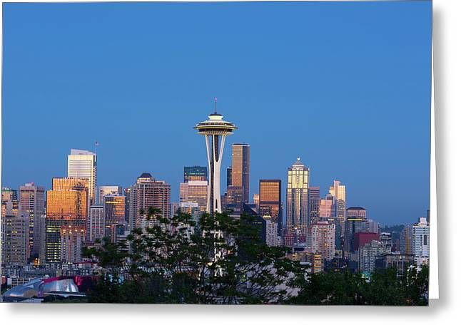 Washington State, Seattle, Skyline View Greeting Card by Jamie and Judy Wild