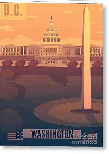 Washington Vector Landescape.washington Greeting Card