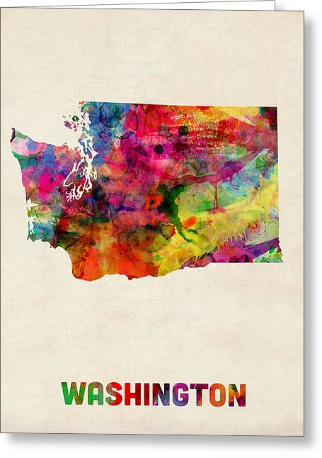 Washington Watercolor Map Greeting Card by Michael Tompsett