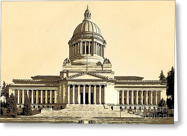 Washingtons State Capitol Building Sketch In Sepia Greeting Card