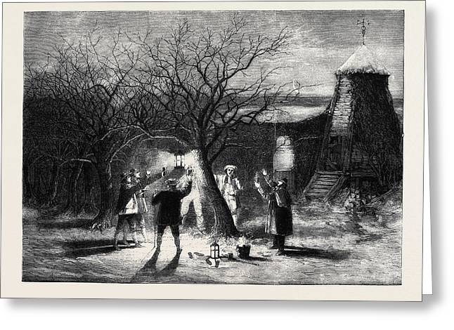 Wassailing Apple-trees With Hot Cider In Devonshire Greeting Card
