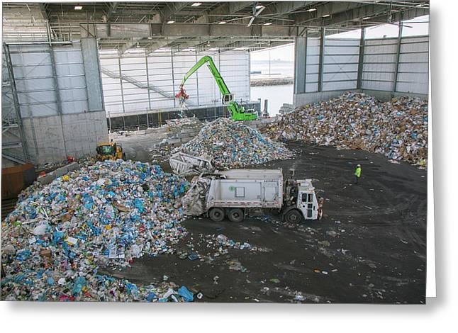 Waste Arriving At A Recycling Centre Greeting Card by Peter Menzel