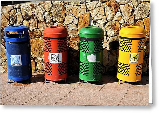 Waste Separation And Recycling Bins Greeting Card