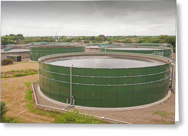 Wastewater Tanks At Sewage Plant Greeting Card