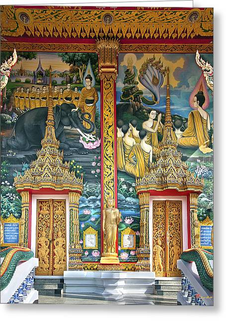 Greeting Card featuring the photograph Wat Choeng Thale Ordination Hall Facade Dthp143 by Gerry Gantt