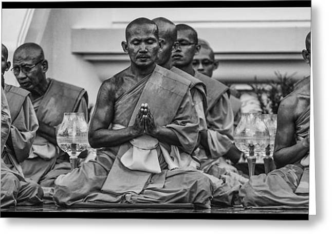 Wat Dhamma Monks Prayers Greeting Card by David Longstreath