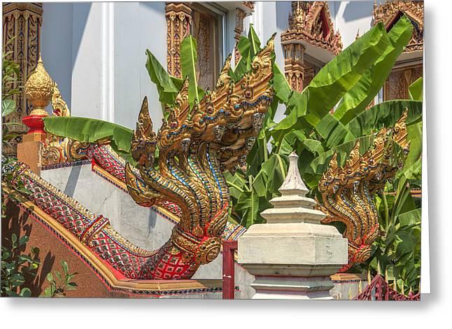 Wat Dokmai Phra Ubosot Stair Naga Dthb1783 Greeting Card