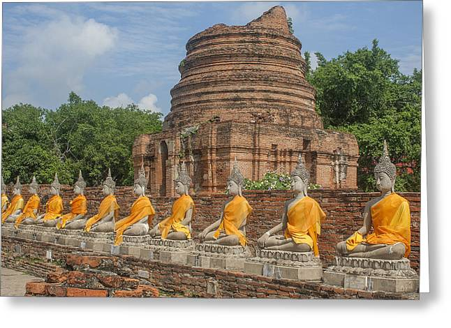 Wat Phra Chao Phya-thai Buddha Images And Ruined Chedi Dtha005 Greeting Card
