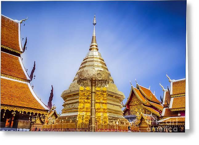 Wat Phra That Doi Suthep  Greeting Card by Anek Suwannaphoom