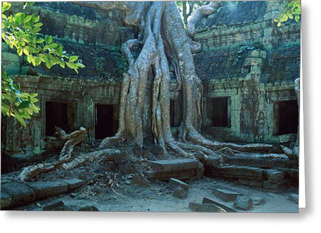 Wat Temple Complex Of Ta-prohm Cambodia Greeting Card