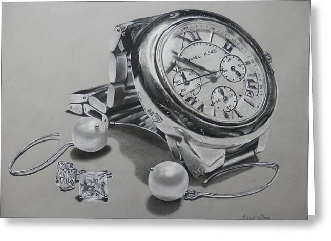 Watch And Earrings Greeting Card by Gabriel Viloria
