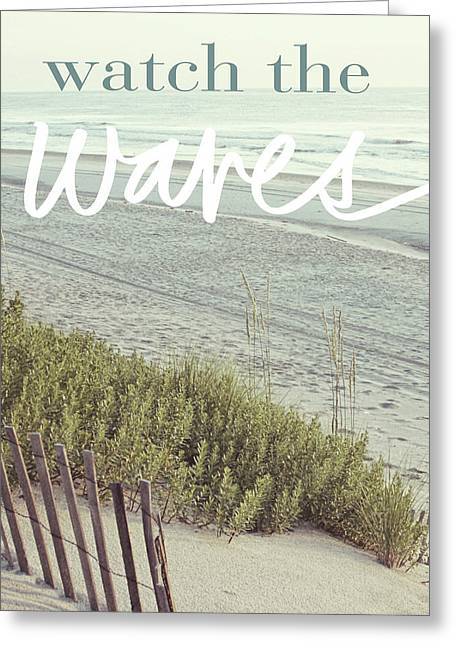 Watch The Waves Greeting Card by Kathy Mansfield