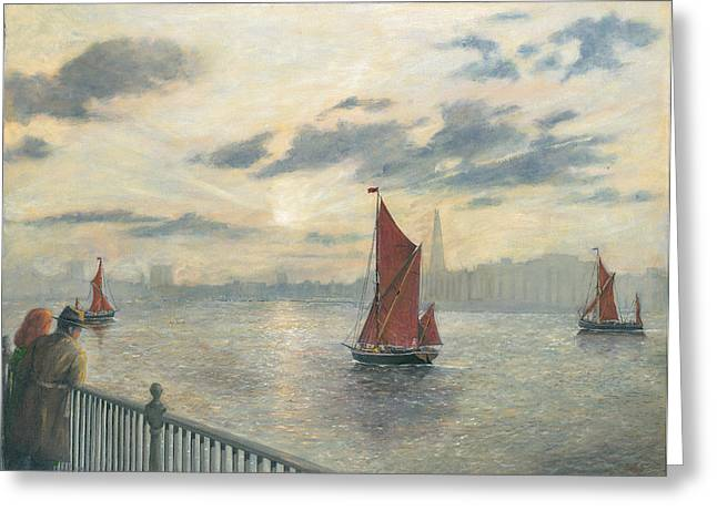 Watching Barges On The Thames River London Greeting Card by Eric Bellis