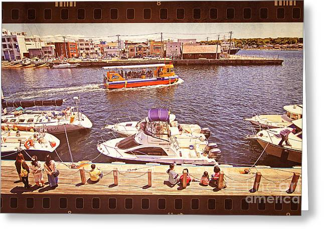 Watching Boats On The Port Greeting Card by Beverly Claire Kaiya