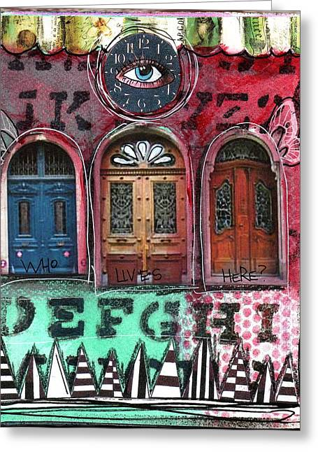Watching Doors Greeting Card by Carrie Todd
