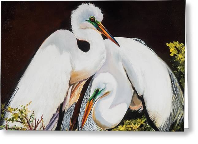 Watching Over Her Greeting Card by Jane Woodward