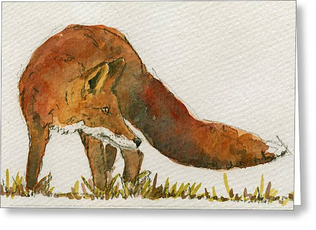 Watching Red Fox Greeting Card by Juan  Bosco
