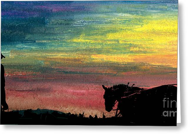 Watching The Horses Greeting Card by R Kyllo