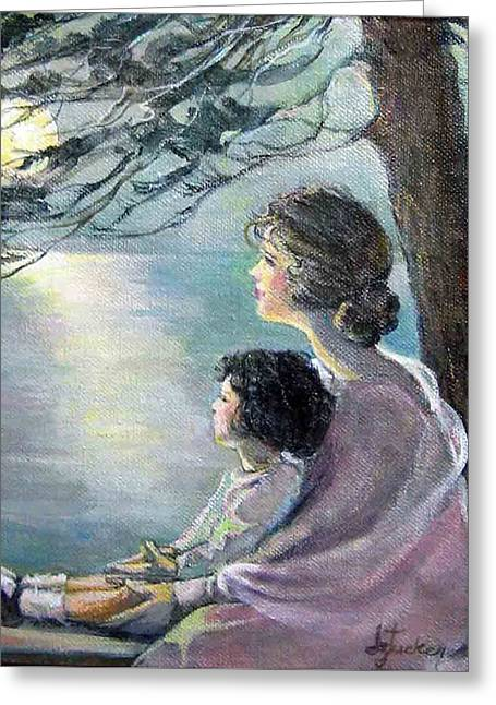 Greeting Card featuring the painting Watching The Moon by Donna Tucker
