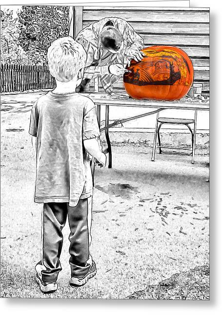 Watching The Pumpkin Carver Greeting Card by John Haldane
