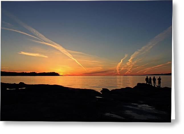 Watching The Sun Go Down Greeting Card by Randy Hall