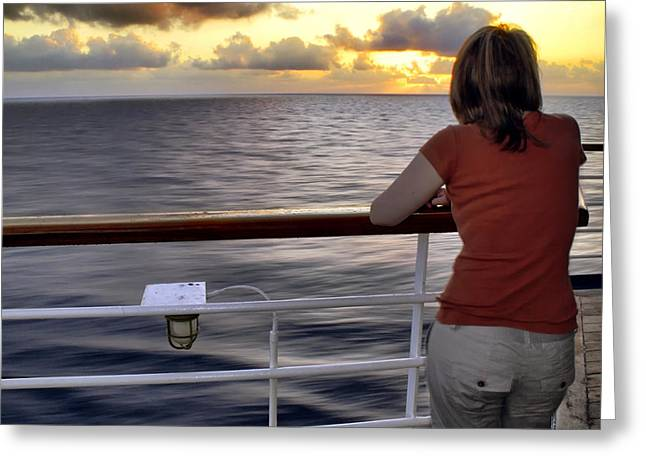 Watching The Sunrise At Sea Greeting Card by Jason Politte