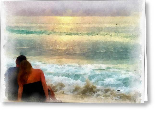 Watching The Sunset Greeting Card by Anthony Caruso