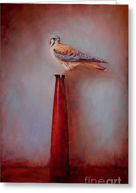 Watchtower - American Kestrel  Greeting Card by Lori  McNee