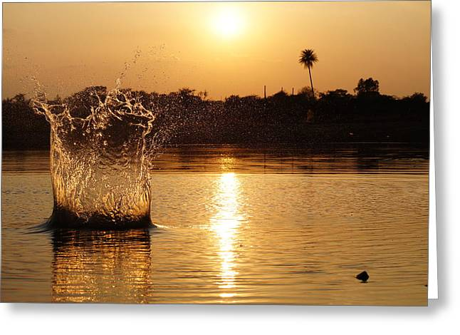 Water Bomb Greeting Card by Utkarsh Solanki