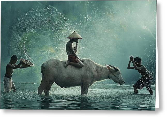 Water Buffalo Greeting Card by Vichaya