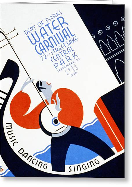 Water Carnival Poster 1936 Greeting Card by Bill Cannon