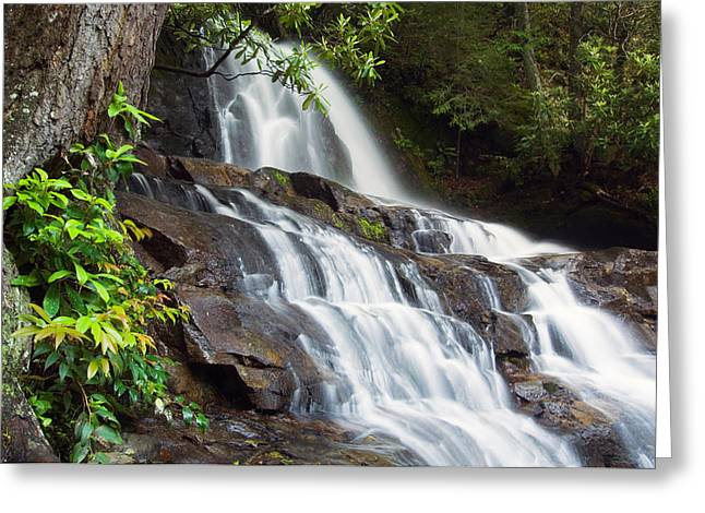 Water Cascading Over Rocky Cliffs Greeting Card by Panoramic Images