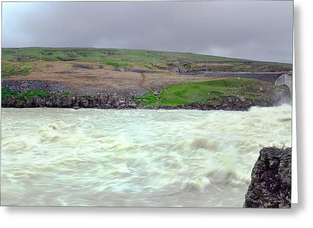 Water Dam For A Hydropower Plant Greeting Card by Birgir Freyr Birgisson