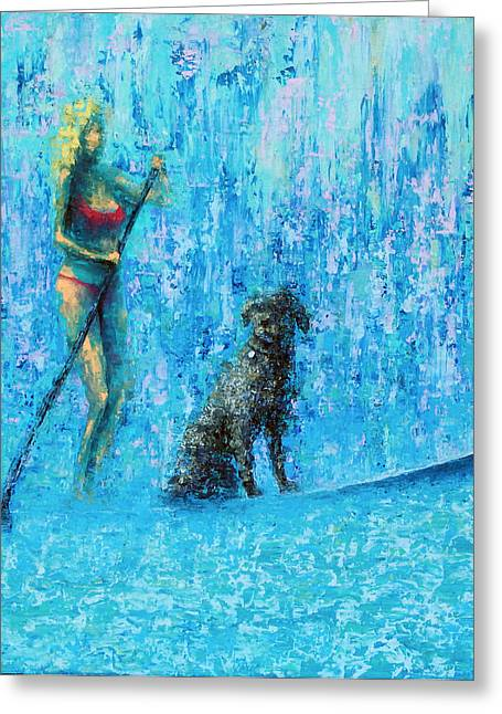 Water Dog Greeting Card by Ned Shuchter
