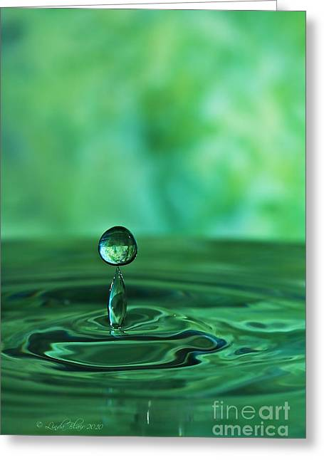 Water Drop Green Greeting Card by Linda Blair