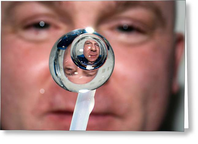 Greeting Card featuring the photograph Water Droplet On The Iss by Science Source