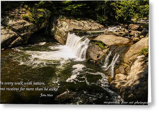 Water Fall With John Muir Quote Greeting Card