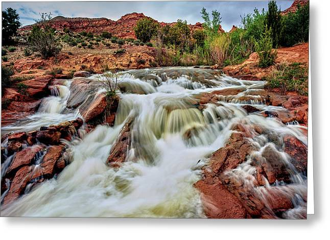 Water Falling From Rocks, Mill Creek Greeting Card
