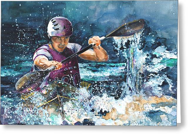 Canoe Drawings Greeting Cards - Water Fight Greeting Card by Miki De Goodaboom