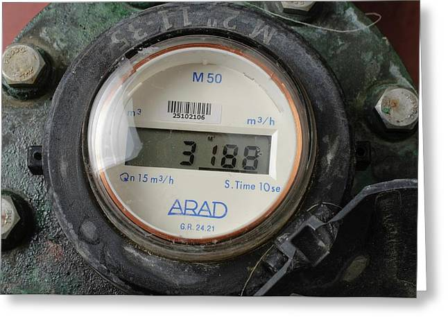 Water Flow Meter With Digital Display Greeting Card by Photostock-israel
